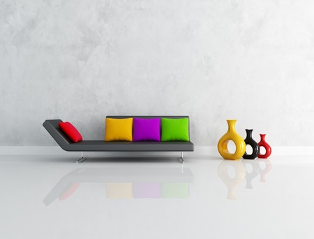 modern black couch with colored cushion in front a stucco wall-rendering Stock Photo - 7156889