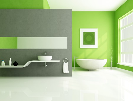 contemporary bathroom with sandstone bathtub and white sink-rendering photo