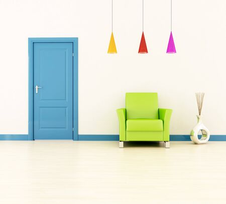 bright home entrance with blue door and green leather armchair -rendering Stock Photo - 7156892