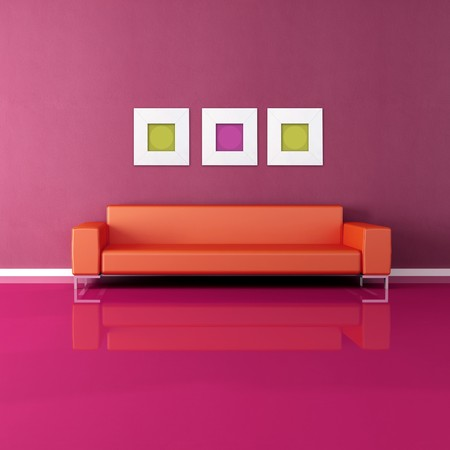contemporary couch in a minimalist purple lounge photo