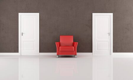 two white closed door and red armchair in a minimalist interior - rendering Stock Photo - 7156894