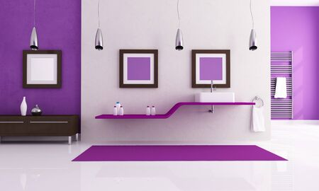 contemporary bathroom with fashion sink - rendering photo