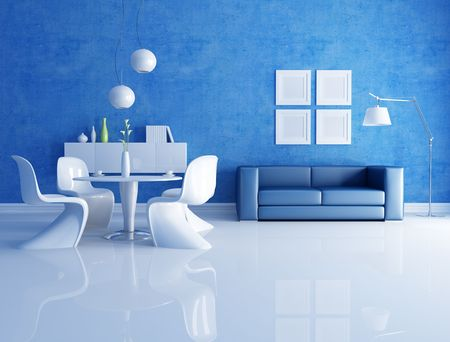 modern  dining room  with blue sofa - rendering photo