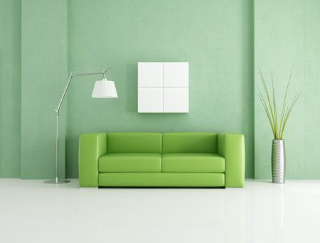 minimalist green and white lounge - rendering photo