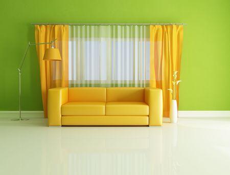 minimalist green and orange living room - rendering Stock Photo - 7209636