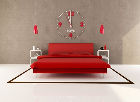 red bedroom with big clock on wall - rendering Stock Photo - 7209634