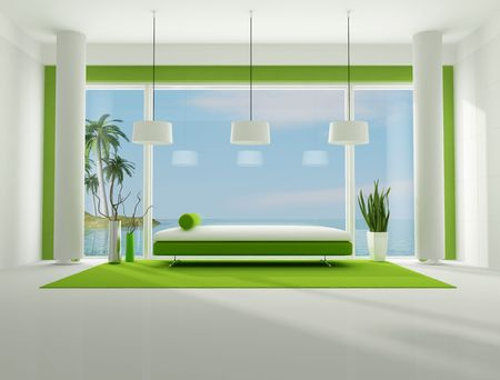green and white interior of a beach house,the image on background is my rendering composition available in my portfolio photo