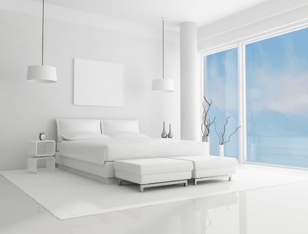 contemporary bedroom: pure white bedroom with blue sky on background - rendering