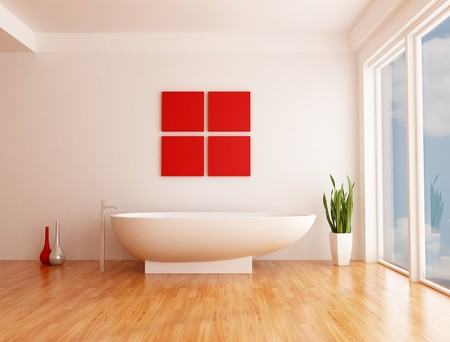 minimalist white bathroom with fashion bathtub Stock Photo