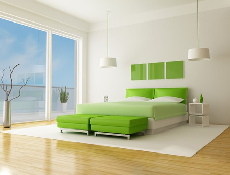 green bedroom of a beach villa  photo