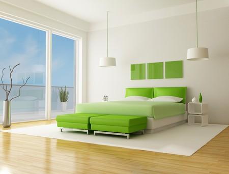 contemporary style: green bedroom of a beach villa  Stock Photo