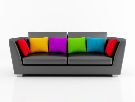 red pillows: black leather couch with colored cushion - rendering Stock Photo