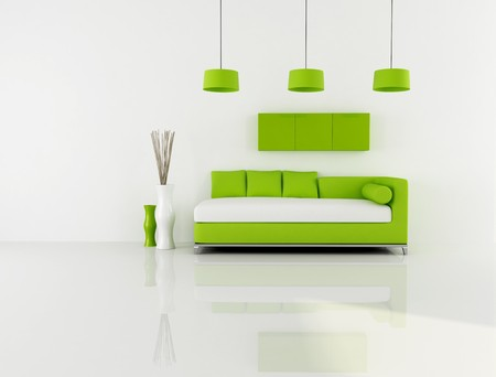 minimalist green and white interior photo
