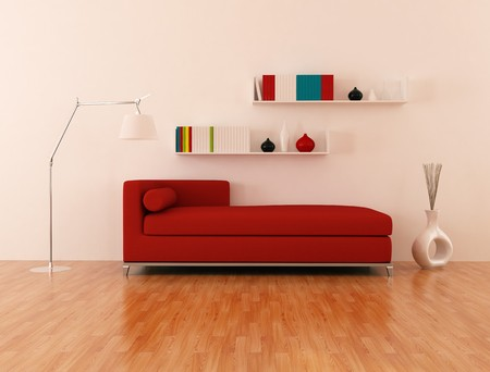red modern couch in a modern lounge - rendering photo