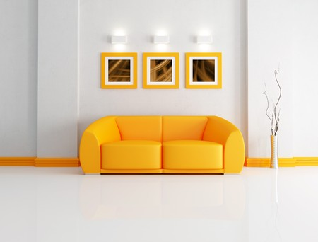 domestic room: orange modern sofa in a white living room-rendering- the art pictures on wall are my composition Stock Photo