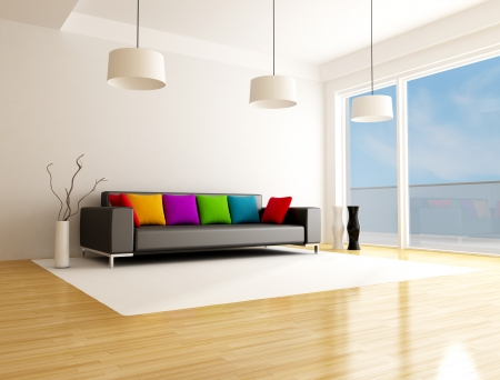 black sofa with colored cushion in a minimalist lounge photo