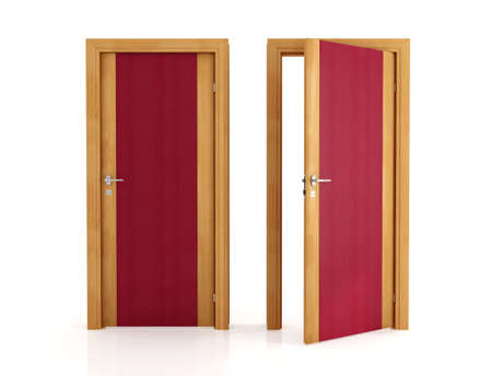 two elegant wooden door isolated on white -rendering photo
