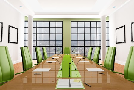 green elegant meeting room - rendering - the image on background is a my photo, new york april 2008 photo