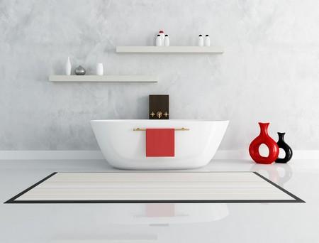 elegant modern bathroom with fashion bathtub - rendering photo