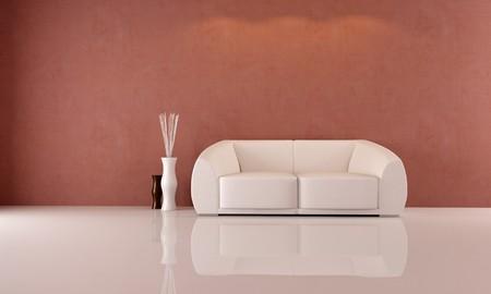 minimalist living room with elegant white sofa - rendering Stock Photo - 7376159