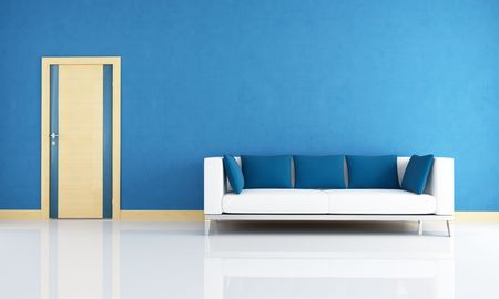 blue interior with modern couch and wooden door Stock Photo - 7417077
