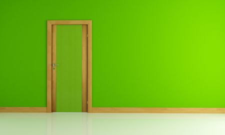 empty green interior with wooden colored door Stock Photo - 7417075