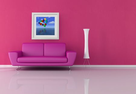 pink and purple lounge - rendering the art picture on wall is a my rendering composition photo