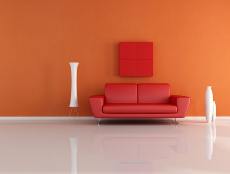 red and orange minimalist lounge - rendering photo