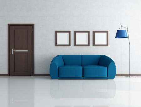 blue sofa in living room with wooden door and frame - rendering photo