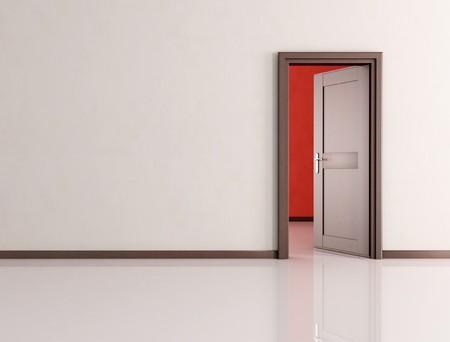 white empty room with open wooden door - rendering photo
