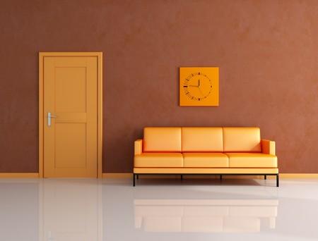 orange and brown living room with door - rendering photo