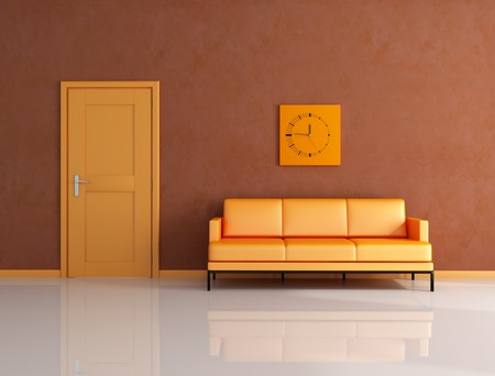 orange and brown living room with door - rendering photo