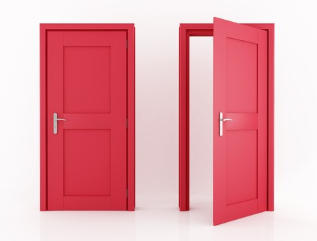 doors open: red door isolated   Stock Photo