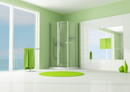 green modern bathroom with cabin shower - rendering photo