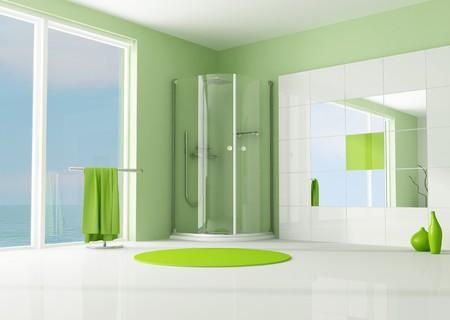 cabine de douche: salle de bains moderne vert avec cabine de douche - rendu