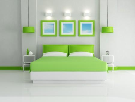 chambre � � coucher: Chambre vert lumineux moderne - rendu-