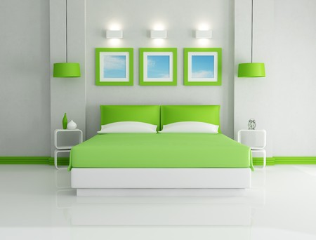 bed frame: modern  bright green bedroom  - rendering - Stock Photo