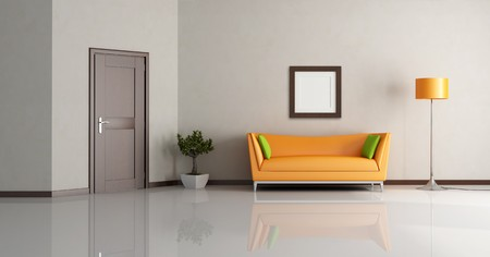 minimalist interior: modern living room with orange couch and wooden door - rendering Stock Photo
