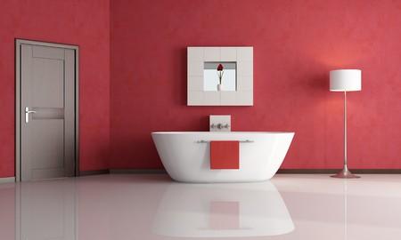elegant minimalist red bathroom - rendering Stock Photo - 7514343