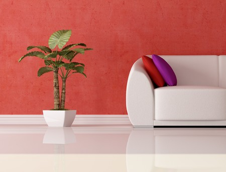 detail of a modern couch with cushion and plant in front a plaster red wall photo