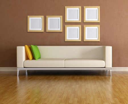 modern sofa and empty wooden frame - rendering Stock Photo - 7514347
