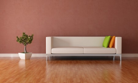 elegant modern lounge with couch and plant - rendering photo