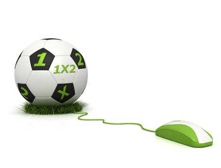 conceptual image of football betting on line - rendering photo