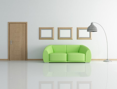 entrance door: green couch in a modern interior with wooden door - rendering Stock Photo