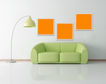 green modern couch floor lamp and frame - rendering Stock Photo - 7591094