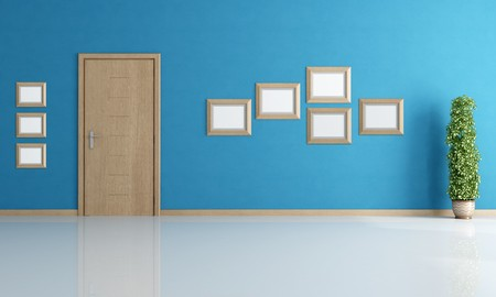 door knob: empty blue interior with wooden modern door and empty frame - rendering Stock Photo