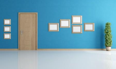 porte bois: vide int�rieur bleu avec porte moderne en bois et un bloc vide - rendu