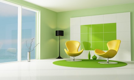 living room minimalist: contemporary green and white lounge with two armchair-rendering
