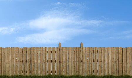 old wooden fence with gate on sky background - rendering photo