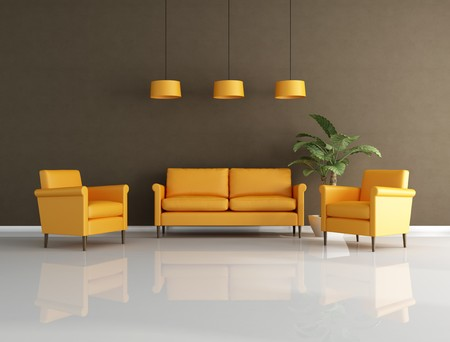 orange and brown contemporary living room - rendering photo